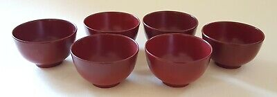 Japanese red lacquer vintage Art Deco oriental antique set of small bowls