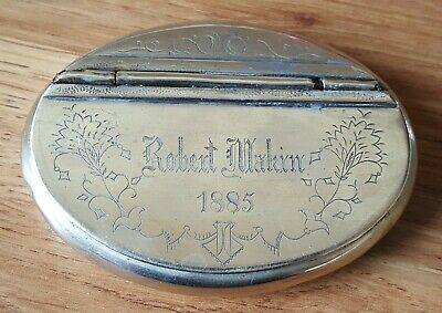 Silver plate vintage Victorian antique named & dated snuff box
