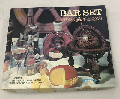 Vintage 7 Piece Bar Set Stainless Steel Rosewood 1960's Made in Japan.
