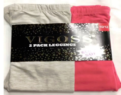 Vigoss 2 Pack Soft Cotton Leggings Elastic Pink and Beige 10/12