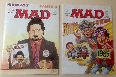 Old Vintage Australian MAD Comic books #283 & #285 Back To The Future & Hinch