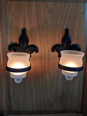 Vintage Pair Of Black Metal Fleur De Lis Wall Sconce Candle Holders W Votives