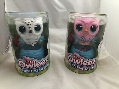 Lot (2) White & Pink Owleez, Flying Baby Owl Interactive Toy w/ Lights & Sounds