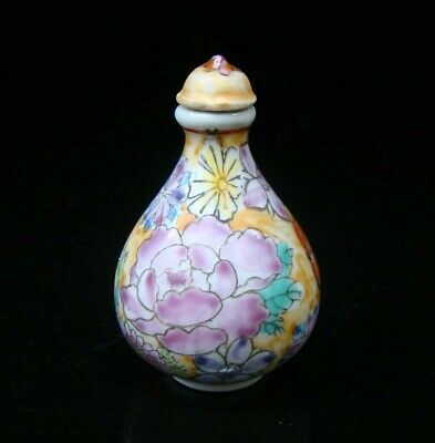 Collectible 100% Handmade Painting Porcelain Cloisonne Snuff Bottles Flower 05
