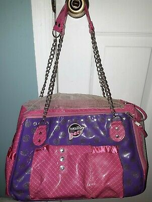 Totally My Pet Purple Pink Small Dog Cat Pet Carrier Chain Handle