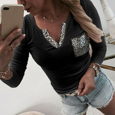 Women Sequined Long Sleeve V-neck Sexy T-shirt Ladies Casual Pocket Short Top