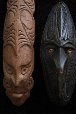 Pair of Old Masks Hunting Charms - Sepik River Papua New Guinea