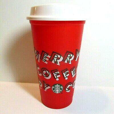 Starbucks Christmas Holiday Merry Coffee Reusable Hot Cup w Lid 2019 Red 16 oz