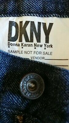 DKNY Women's Vintage 80's hand painted sample jeans. 80 cm high waisted. As New.