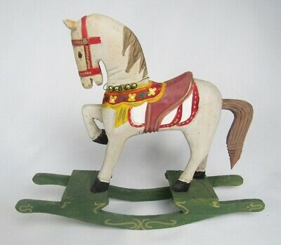 Vintage Hand Crafted Carved Painted Wood Rocking Carousel Horse Doll Prop