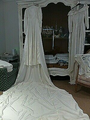 VINTAGE STUNNING 1930's WEDDING DRESS ENORMOUS TRAIN  - FABULOUS CONDITION
