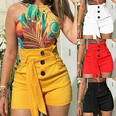 Womens Ladies Summer High Waist Skinny Casual Stretch Hot Pants Shorts Trousers