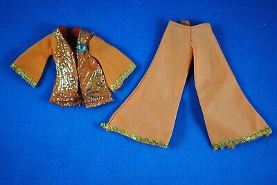 Vintage Sindy Orange & Gold Outfit Flared Pants With Matching Top Two Piece Set