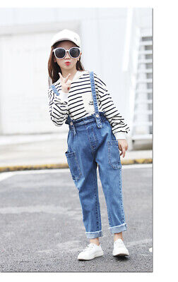 Girls Stretchy Overalls Jeans Kids Ripped Denim Pants Trousers Jeggings jean