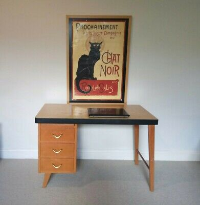 RETRO DESK - 1960's timber mid CENTURY MCM 3 drawers vintage