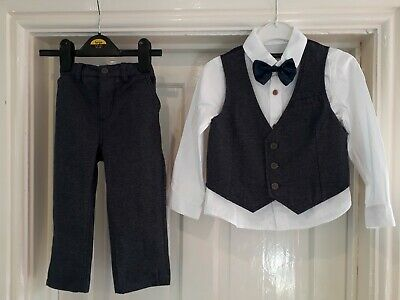 Boys Blue 4 Piece Waistcoat Suit Formal Wedding Page Boy Party Age 3-4 Years