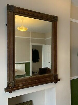 Large Antique Pine Mirror, from a church / chapel. perfect for a mantle piece