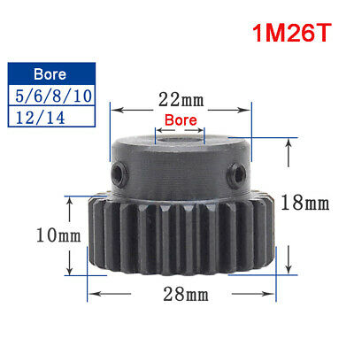 1 Mod 26T Precision Spur Gear,With Step Motor Pinion Transmission Gear 45# Steel
