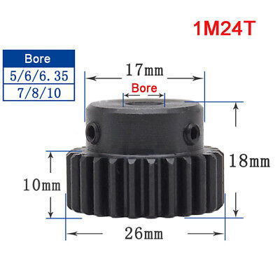 1 Mod 24T Precision Spur Gear,With Step Motor Pinion Transmission Gear 45# Steel