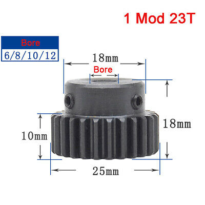 1 Mod 23T 45# Steel Precision Spur Gear With Step Motor Pinion Transmission Gear