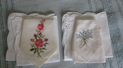 Beautiful 2 Vintage Ladies Handkerchiefs and 2 linen cloths