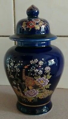 Collectable Cobalt Blue ceramic ginger jar oriental floral design made in Japan.
