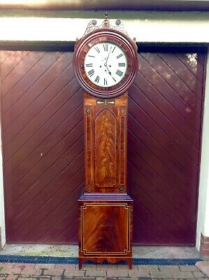 Longcase Grandfather Clock 19th Century 2 Bells