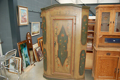 19th century painted pine cupboard with shelves,original paint, lock and key