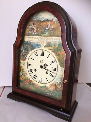 Hermle Striking Mantle Clock Hunting Scenes With Floating Balance Working Order
