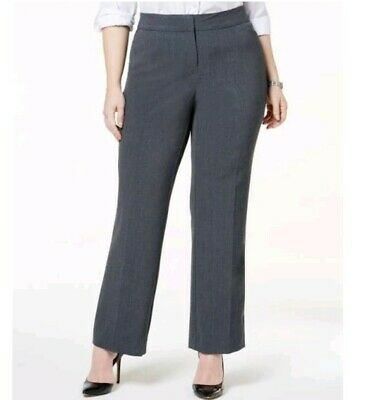 NWT JM COLLECTION Womens Gray Slim Leg Curvy Fit Pants Slacks 22W