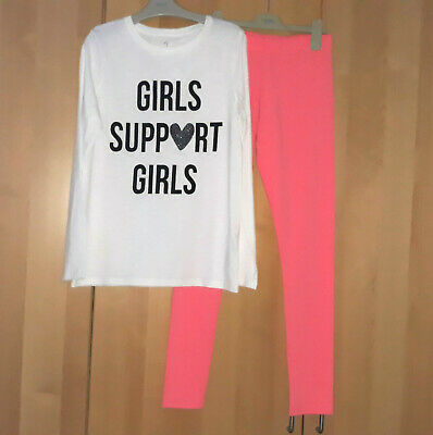 Next Girls White Slogan Long Sleeve Top & Pink Leggings Age 12 Years BNWT