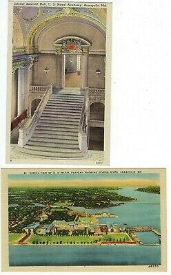 LOT of 2 Maryland Naval Academy Annapolis UNPOSTED LINEN POSTCARDS