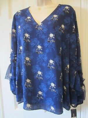 Alfani Womens Blue Floral Long Bell Ruffled Sleeves Blouse NEW WITH TAGS- SIZE S