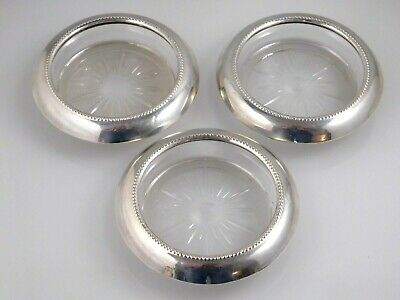 Set of 3 Vintage Frank M Whiting 04 Crystal Coasters with Sterling Silver Rim