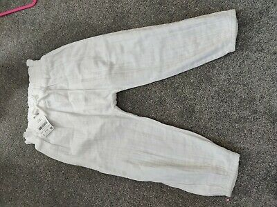 BNWT Next Girls White Trousers Age 2-3 Years