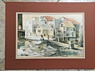 """MARY DELOYHT ARENDT Puerto Vallarta Wash Day 13"""" x 19"""" Litho, Matted"""