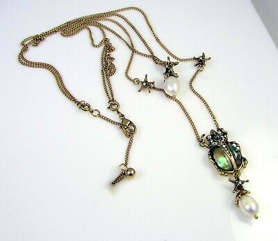 Egyptian Scarab Abalone Shell Gold Crystal Faux Pearl Necklace Designer inspire