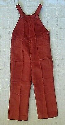 Vintage French Needlecord Dungarees - Age 5 - Terracotta - Button Straps - New