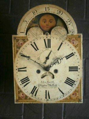 C1850 8 day   LONGCASE GRANDFATHER CLOCK DIAL movement 13X18 1/4 moonphase