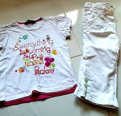 Girls White Trousers And Top Ted Baker Age 4-5