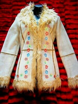 Retro Vintage 70`S Afghan Style Coat Embroidery Flowers Hippy Boho Alternative