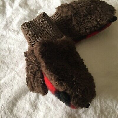 Baby Gap Bear Mittens Gloves Nwt Fleecy Lined Bear Paws Teddy Bear Feel 12-18M