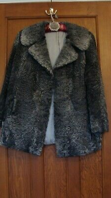 Persian Lamb Jacket in Steel Grey Size 14/16 Vintage Excellent condition