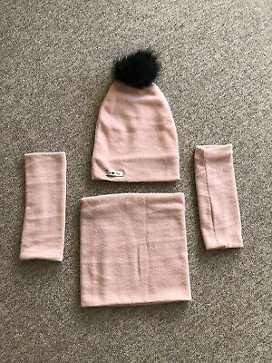Lovely Peach Salmon Pink Bobble Slouchy Hat, Tube Scarf And Arm warmers Mala Mi