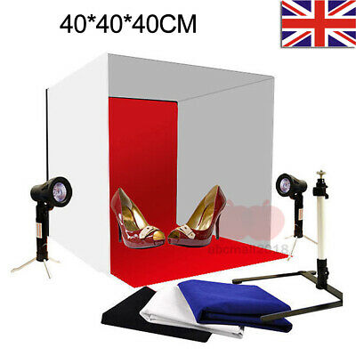 Portable Photo Studio Lighting Cube Tent Kit 40x40CM Light Box + 4X Backgrounds