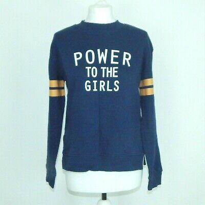 "H&M Navy Blue ""Power to the Girls"" Logo Sweatshirt Size Small (8-10)"