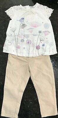 Baby Girl Age 9-12 Months Outfit. Next Beige Trousers, F&F Top.