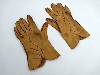 Brown Vintage 1950s Leather Gloves 50s 60s Retro Small / Medium