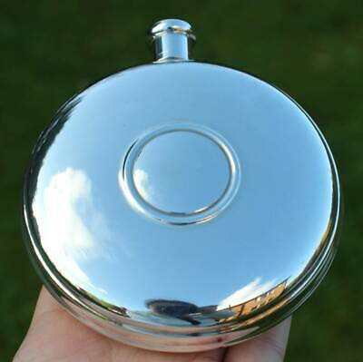 Boxed Solid Silver Round Hip Flask NEVER BEEN USED c.2001(R3081S)