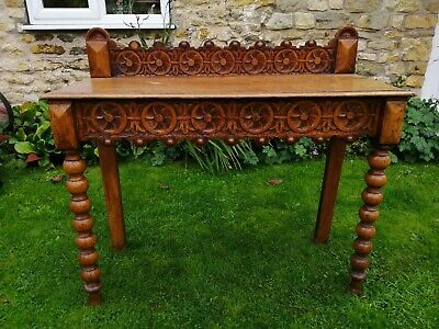Victorian Carved Oak Gothic Hall Console Table Antique